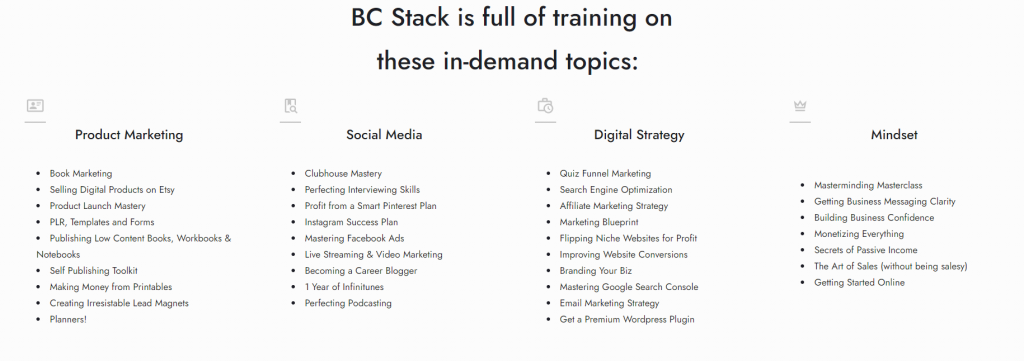 bc stack categories